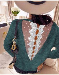 Блуза - код 7077 - зелена