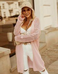 Атрактивна дълга дамска жилетка с едра плетка в розово - код 4811
