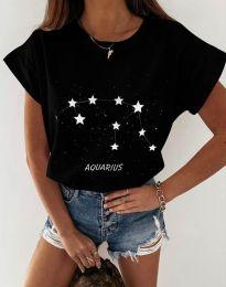 Дамска тениска с принт в черно - код 2342