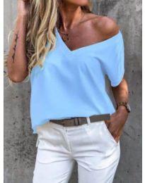 Дамска  свободна тениска в светлосиньо - код 0589