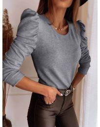 Блуза - код 9556 - сиво
