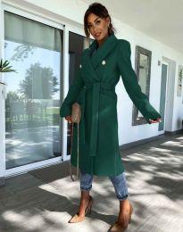 Дълго елегантно дамско палто с колан в масленозелено - код 6429