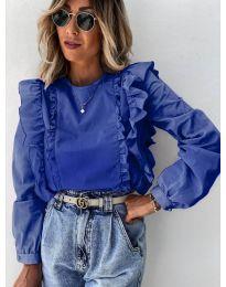 Блуза - код 6615 - темно сина