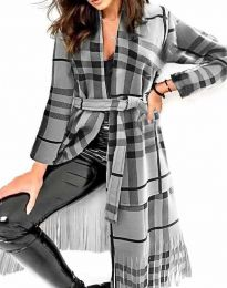 Ефектно дълго дамско палто с ресни и колан в сиво и черно каре - код 2891 - 2