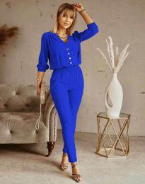 Дамски спортно-елегантен комплект панталон и блуза с дълъг ръкав в синьо - код 0244