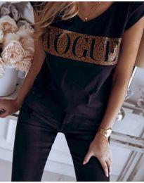 Дамска тениска в черно с принт - код 2621