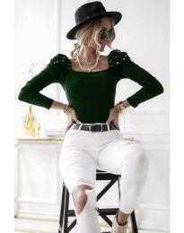 Блуза - код 15766 - 3 - темно зелена