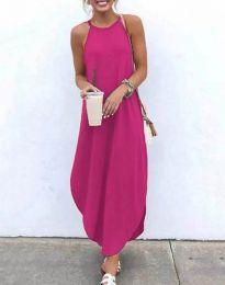 Дълга дамска рокля в цвят циклама - код 17500