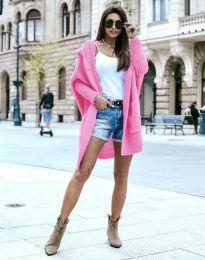 Дамска дълга плетена жилетка с качулка в розово - код 0577