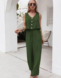 Свободен дамски комплект потник и панталон в тъмнозелено - код 6929