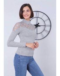 Блуза - код 5377 - 2 - сиво