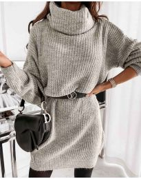 Свободна дамска туника от плетиво в бежово - код 3238