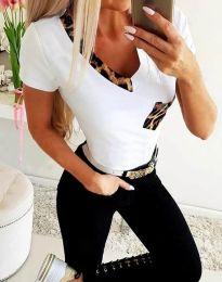 Бяла дамска тениска с тигров мотив - код 1413