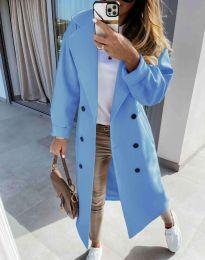 Дълго елегантно дамско палто в светлосиньо - код 6452