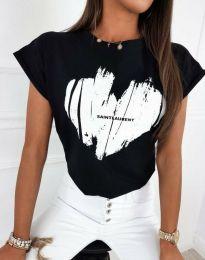 Атрактивна тениска с принт в черно - код 11901