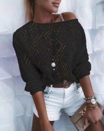 Дамска блуза от плетиво с голо рамо в черно - код 4701