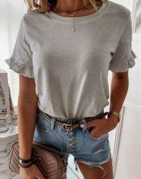 Дамска тениска в светлосиво с къдрички - код 11763