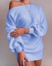 Дълга дамска туника от плетиво с паднало рамо в светлосиньо - код 7962
