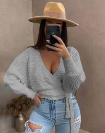 Блуза - код 3728 - сиво