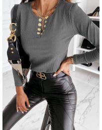 Блуза - код 4175 - сиво