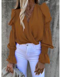 Блуза - код 5451 - кафеава