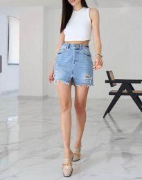 Къса дънкова пола в синьо с висока талия - код 3369
