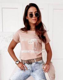 Дамска тениска в цвят пудра - код 3024