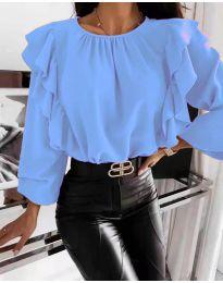 Блуза - код 4445 - небесно сина