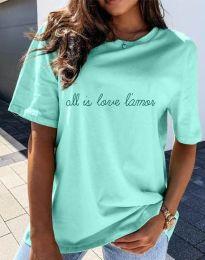 Дамска тениска с принт в цвят мента - код 36755