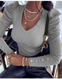 Блуза - код 2065 - 5 - сиво