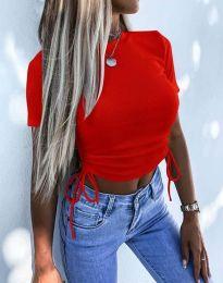 Къса дамска тениска с връзки в червено - код 2425