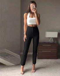 Елегантен дамски панталон с висока талия в черно - код 3128