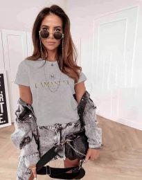 Атрактивна дамска тениска с надпис в сиво - код 4004
