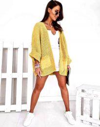 Дамска свободна плетена жилетка в жълто - код 0553