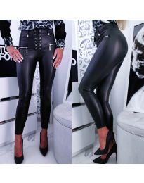 Черен  панталон  еко кожа с ципове и връзки - код 8021