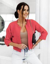 Къса плетена дамска жилетка в червено - код 4695
