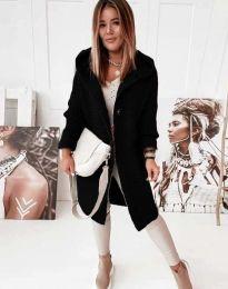 Дамска дълга свободна плетена жилетка с качулка в черно - код 2972