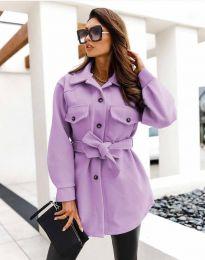 Дамско спортно-елегантно палто с копчета в лилаво - код 4966