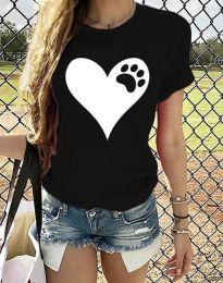 Тениска с ефектен принт в черно - код 3204