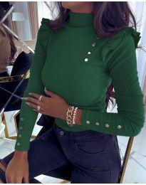 Блуза - код 6566 - темно зелена