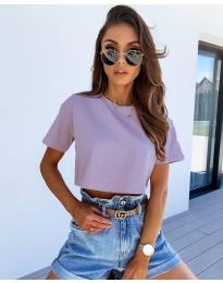 Къса тениска в цвят лилав - код 608