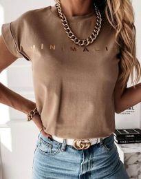 Дамска тениска с надпис в кафяво - код 4078