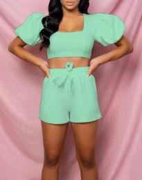 Дамски комплект къс топ и панталонки в цвят мента - код 0851