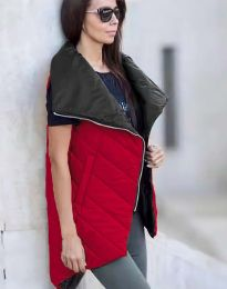 Дамски асиметричен дълъг елек грейка и висока яка в червено - код 0422