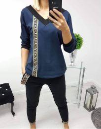 Дамски комплект блуза и панталон в тъмносиньо - код 8887