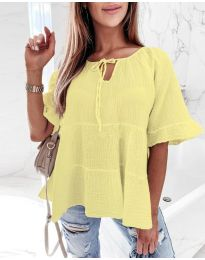 Свободна риза в жълто - код 8842