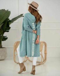 Дълга плетена жилетка с качулка в цвят мента - код 3162