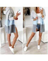 Дамска свободна плетена жилетка с качулка в три цвята - код 4587 - 2