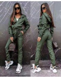 Дамски комплект кожа суичър панталон в масленозелено - код 6518
