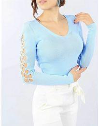Блуза - код 6776 - светло сина